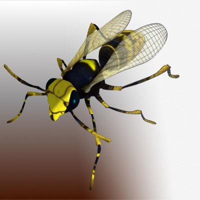3d rigged wasp