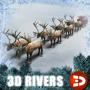 santa claus sleigh reindeer 3ds