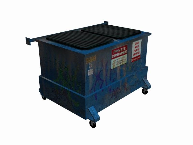 3d trash dumpster model