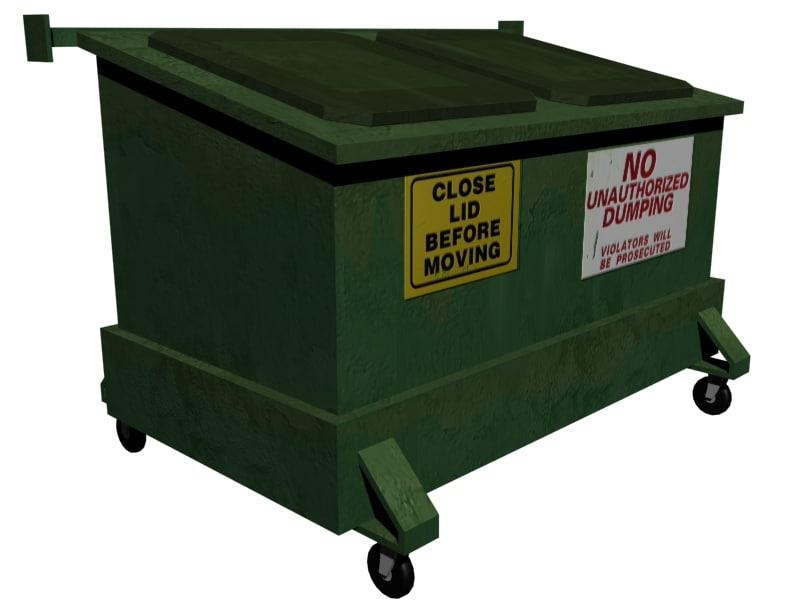 3d model dumpster polys trash