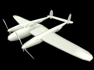free p38 aircraft 3d model