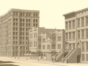 3d model of city street