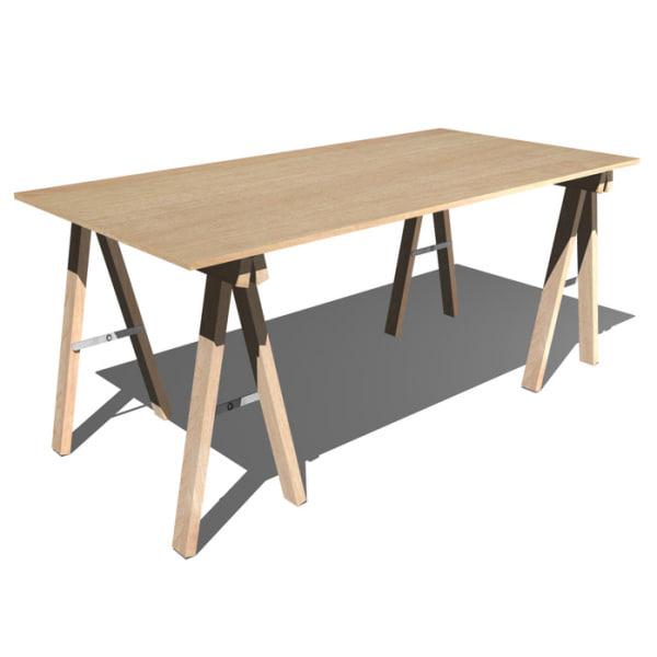 3d model desk trestle