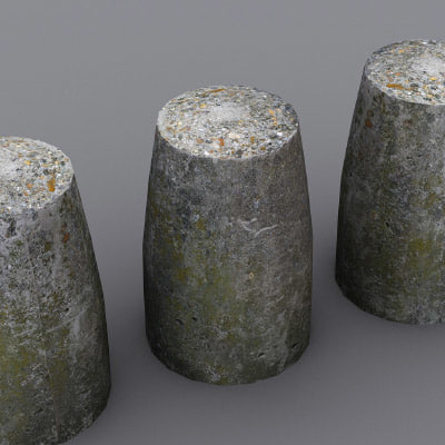 3ds max concrete short tapered