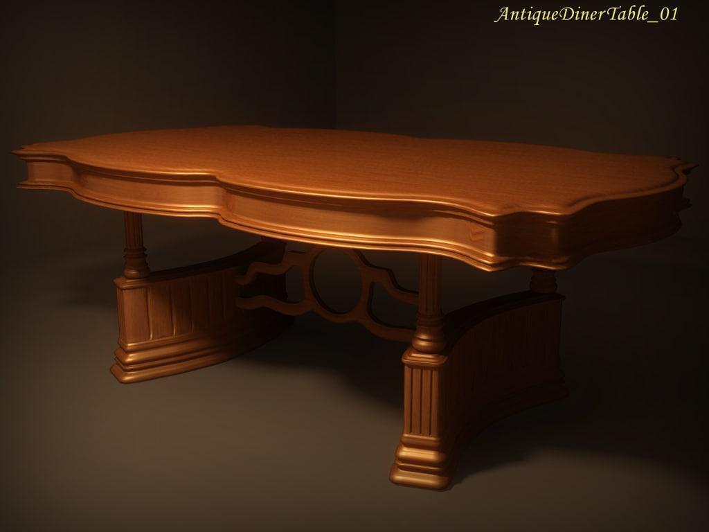 3d antique diner table 01