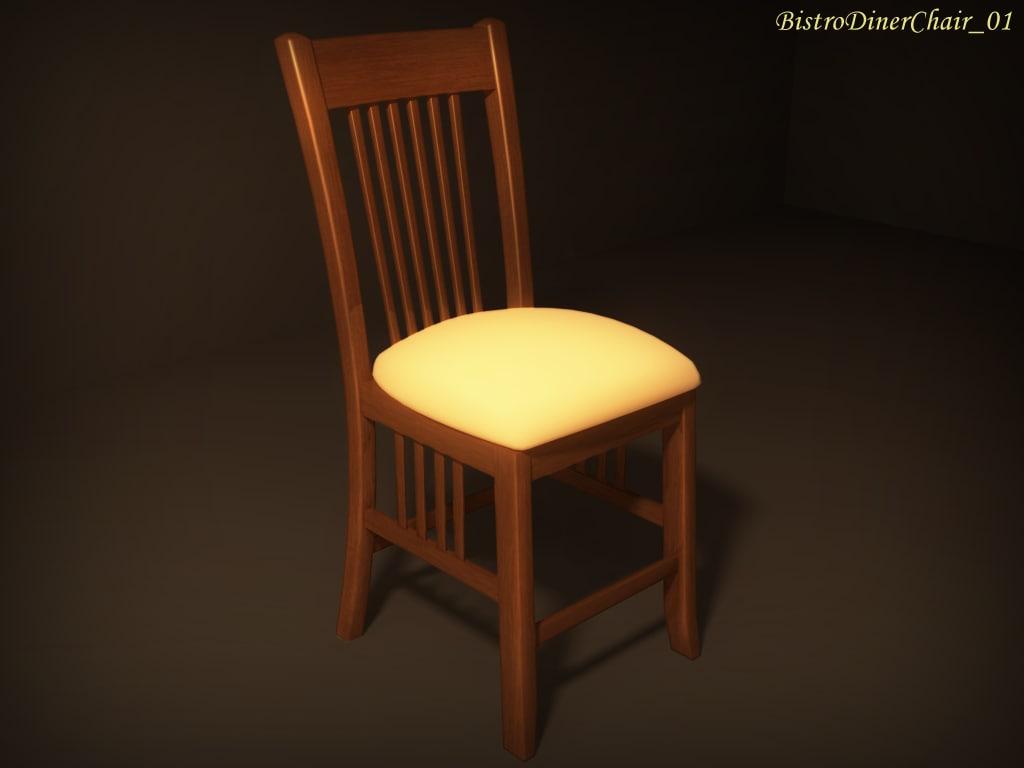 3d model bistro diner chair 01