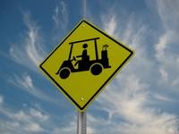 golf cart crossing street sign 3d 3ds