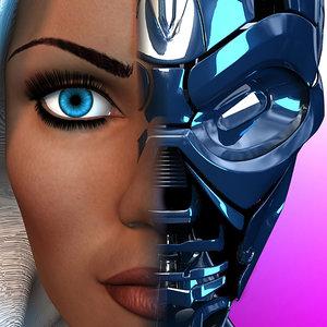 3d terminator tx woman body model