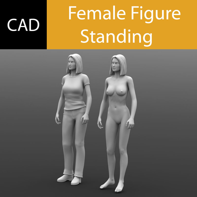 cad female figure standing 3dm