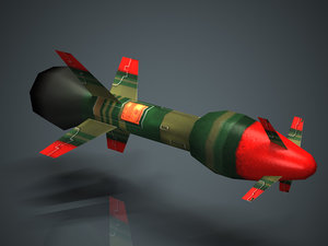 3d low-polygon missile model