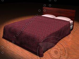 bed pillows headboard 3d model