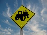 tractor crossing street sign 3d model