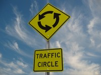 Traffic Circle Road Sign