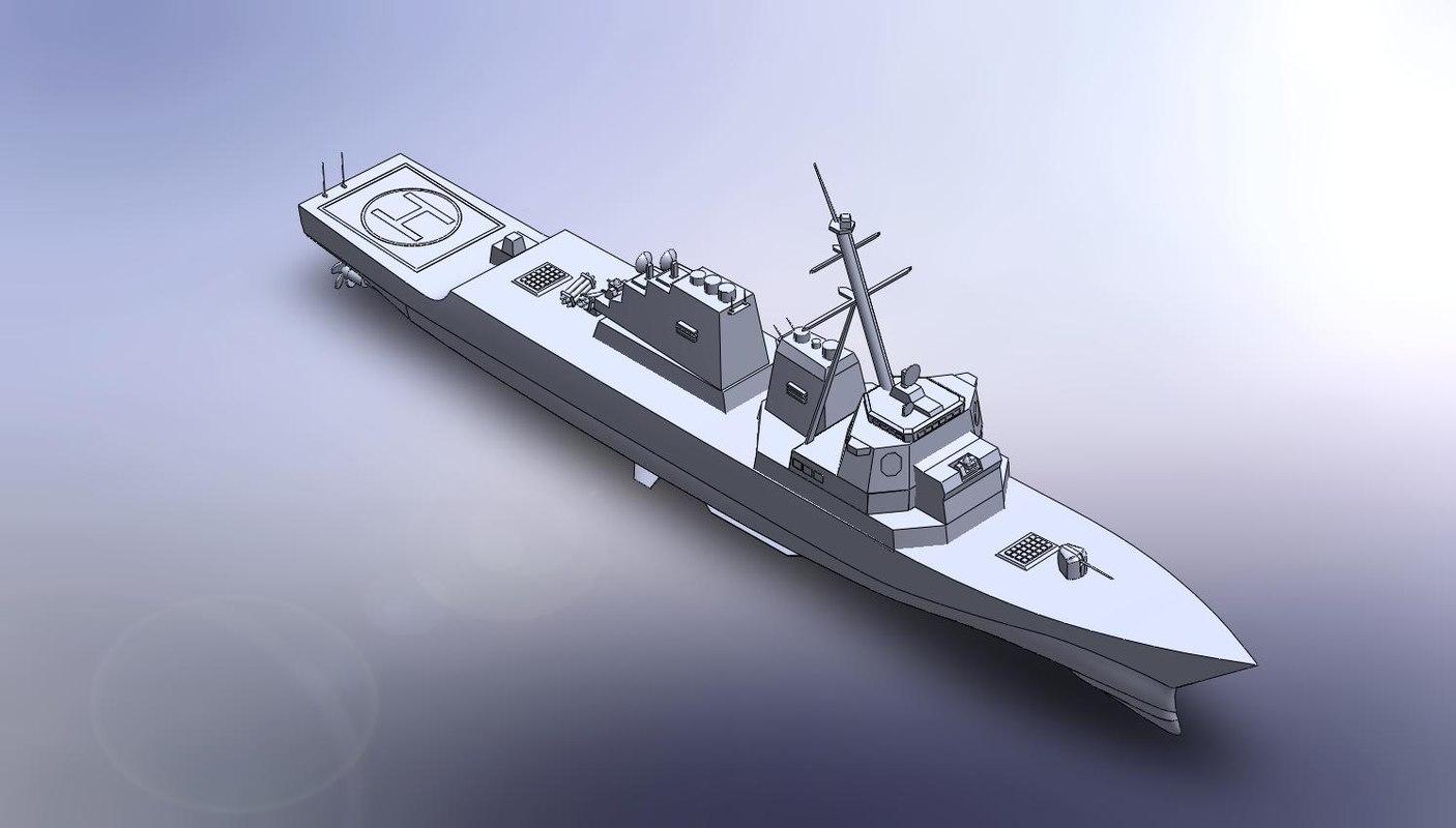 solid warship - destroyer 3d model