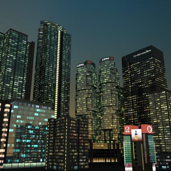 skyscraper building night city 3d model