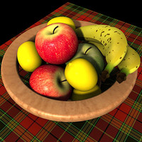 3d cesta basket fruits
