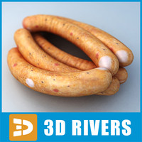 sausage meat food 3d 3ds