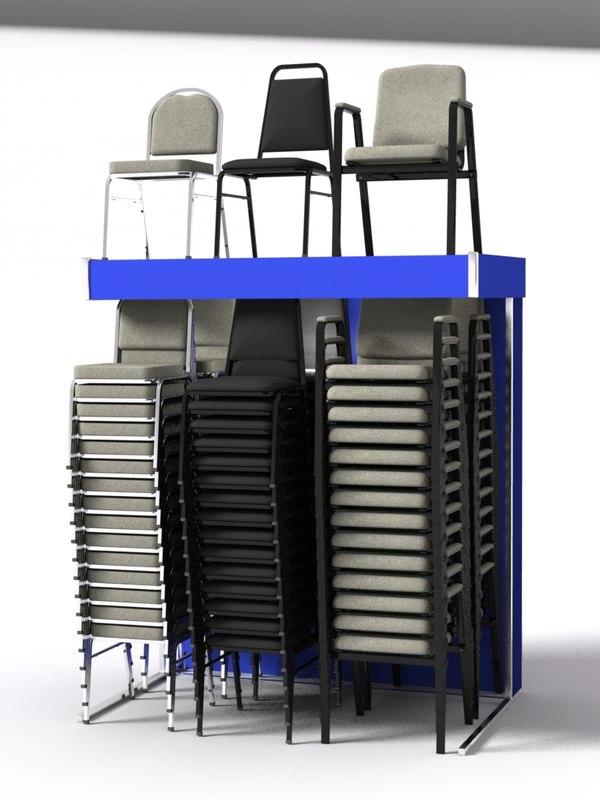 3d model stack chair display rack