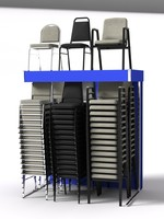 3d model stack chair display rack