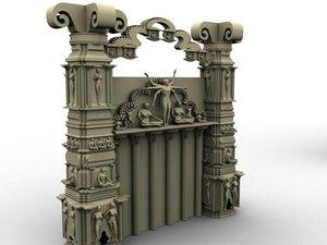 3d model architectural stone walls