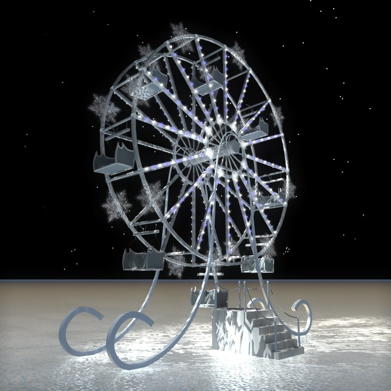 winter ferris wheel c4d
