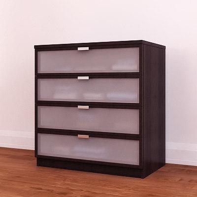 3d ikea hopen chest drawers model