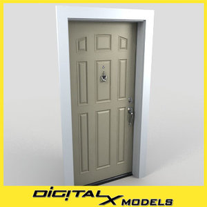 3d model residential entry door 17