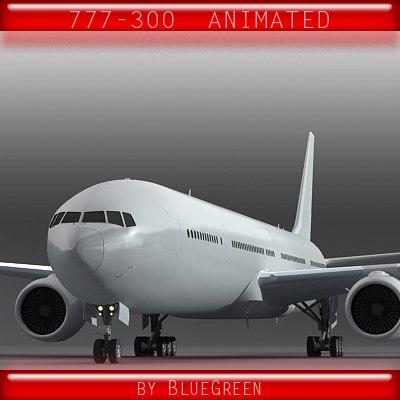 3d model 777-300 plane landing