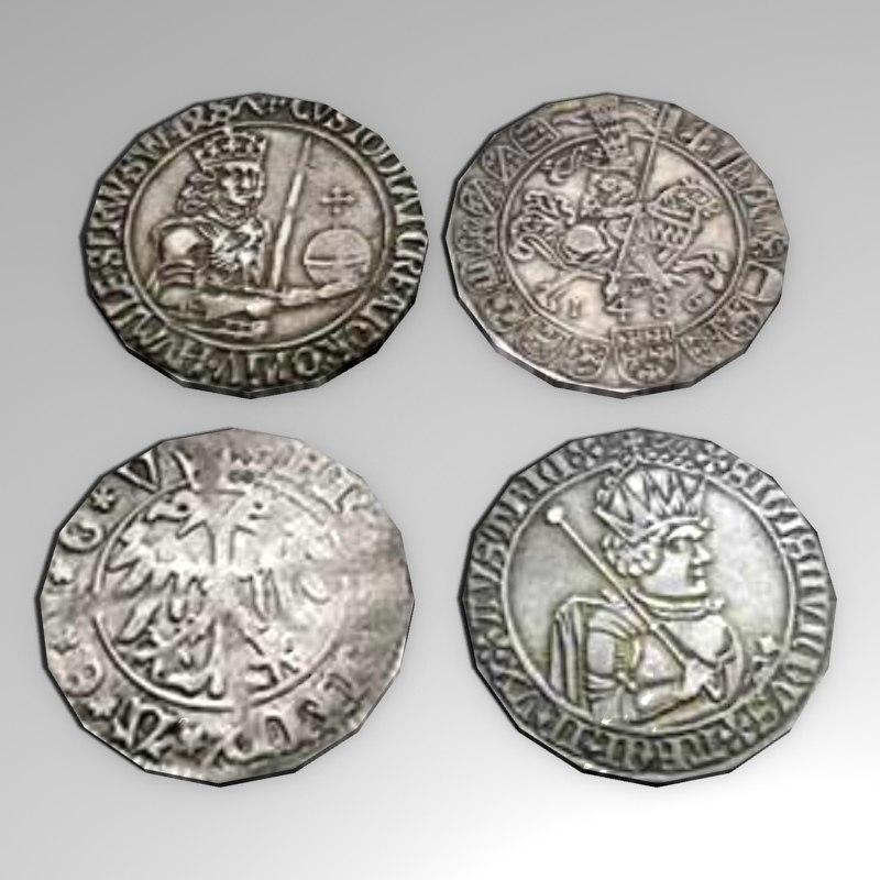 4 medieval coins lwo