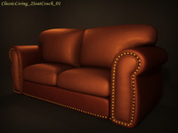 Classic Livingroom 2 Seat Couch 01
