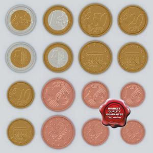 euro coins obj