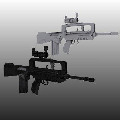 3d model famas assault rifle aimpoint