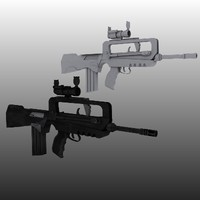3d model famas assault rifle aimpoint