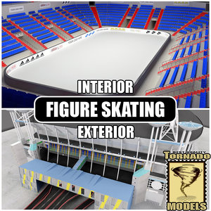 figure skating arena interior exterior 3d model