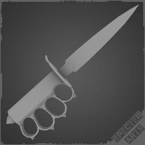 3d model m1918 trench knife single