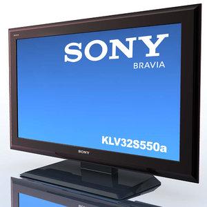 c4d tv sony bravia klv-32s550a