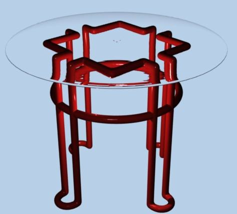 glass steel table 3d model