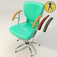 3d green office chair hair model