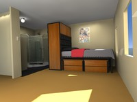 Dorm Room with Bed, Wardrobe and Shower