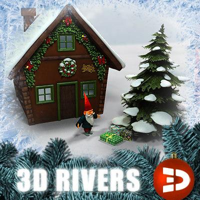 3d model home santa claus
