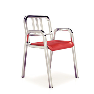 3d model aluminum stacking chair emeco