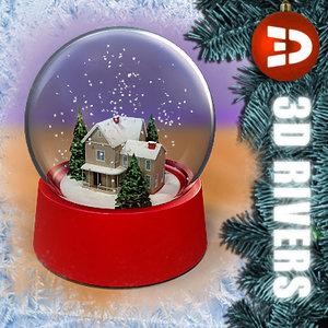 snow globe house 3d 3ds