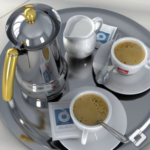 illy coffee set 3d c4d