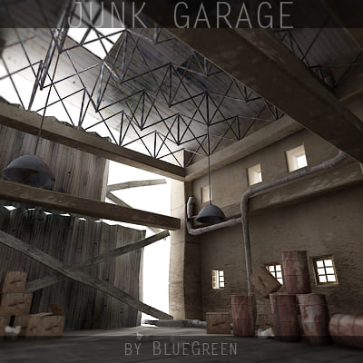 3d desolated junk garage model