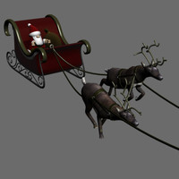 Santas Sleigh rig w/ animated deer