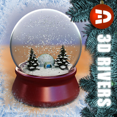 snow globe snowhouse 3d model