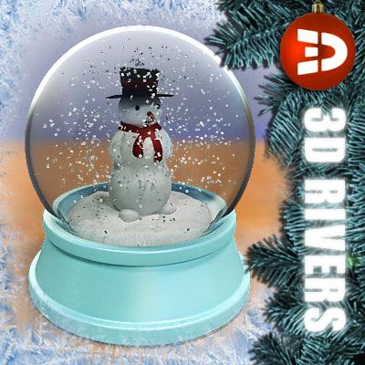 maya snow globe snowman