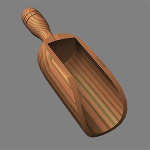 rustic wooden scoop 3d dxf