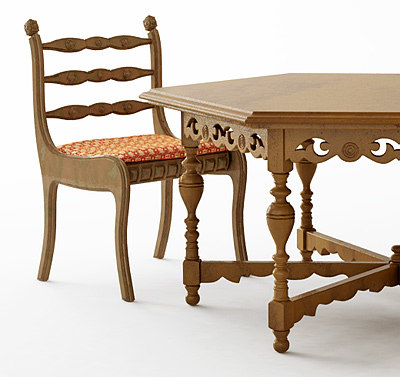 3ds antique table chair