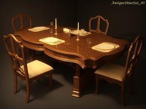 antique diner set 01 3d model